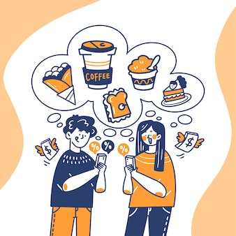 Young man and woman buying snacks online doodle illustration