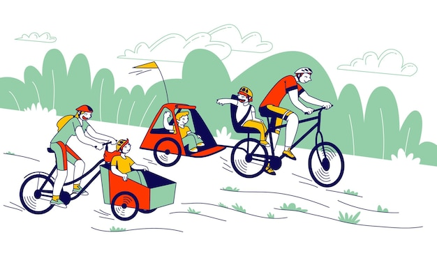 Young man and woman characters riding bicycles with children sitting in front and back bike trailers for kids