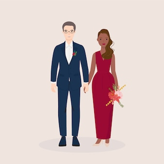 Young man and woman, couple bride and groom in wedding, formal dress. trendy vector illustration
