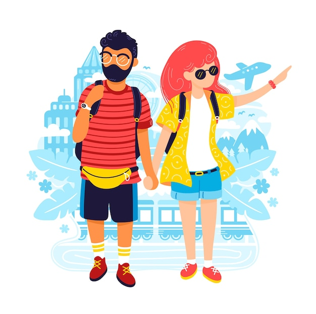 Young man and woman couple in travel.