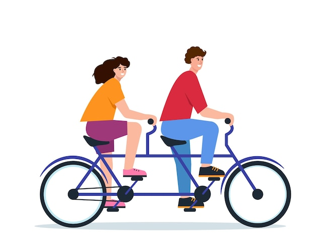 Young man and woman on double bycicle smiling happy couple ride tandem bike