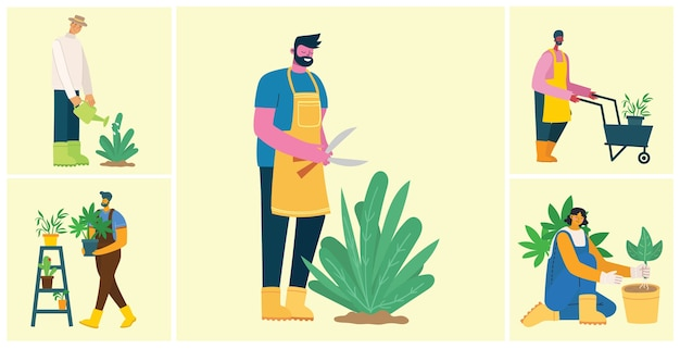 Young man and woman gardener holding a flower pot.   illustration in a modern flat style