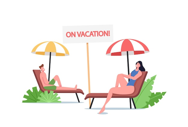 Young man and woman lounging on chaise lounge under sun rays relaxing on sea beach at summer time vacation. tourist characters relax on seaside resort on holidays. cartoon people vector illustration