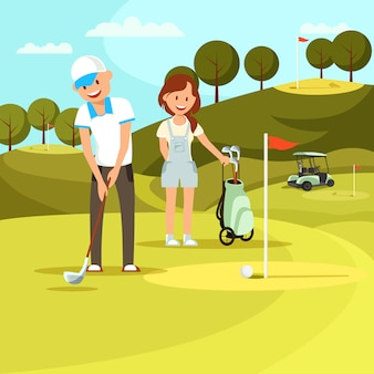 Young man and woman playing golf on field