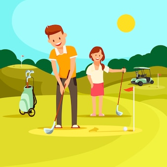 Young man and woman playing golf on green field.
