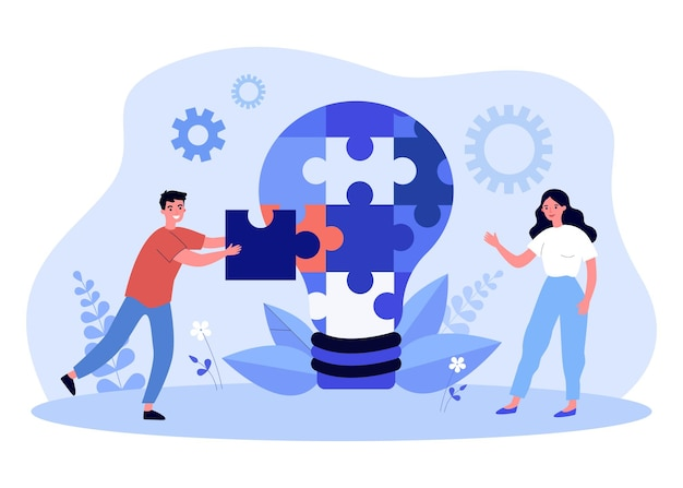 Young man and woman putting together puzzle into light bulb. flat vector illustration. creative people working on common idea, project, implementing it. teamwork, project, business, creativity concept