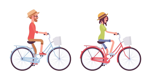 Young man and woman riding a bike