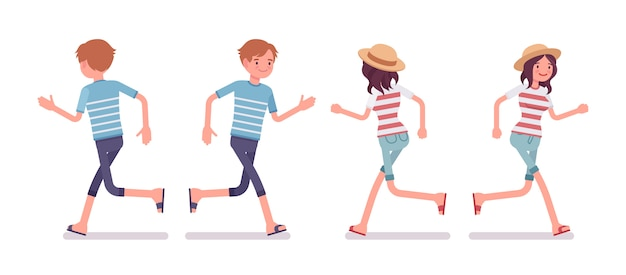 Young man and woman in running pose