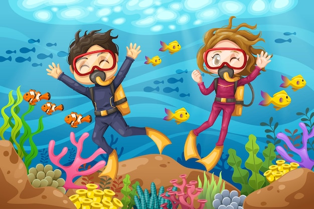 Young man and woman scuba diver with mask dives under the sea