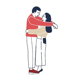 Young man and woman standing face to face and hugging. boyfriend and girlfriend cuddling. funny male and female cartoon characters in love. romantic partners on date. colored vector illustration