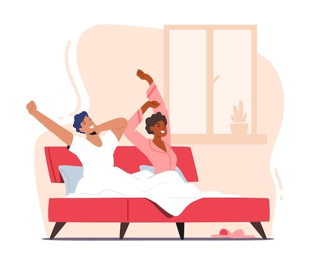 Young man and woman wake up at morning