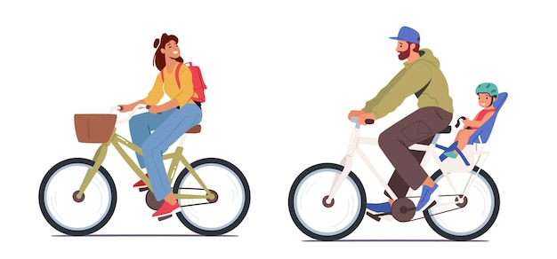Young man and woman with baby riding bikes