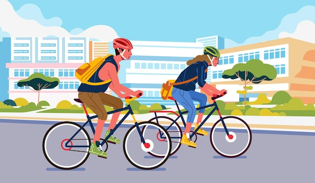 Young man and women cycling around the city wearing safety helmet