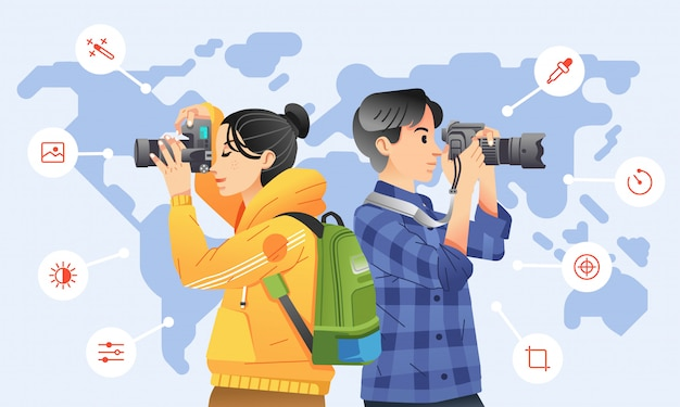 Young man and women taking picture with digital camera with icon around them and world map as background. used for poster, website image and other