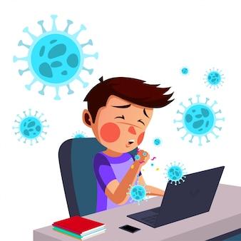 Молодой человек работает из дома и получает сухой кашель, один из симптомов Premium векторы