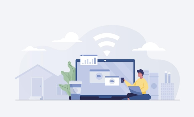Young man work at home concept, working on laptop.. vector illustration