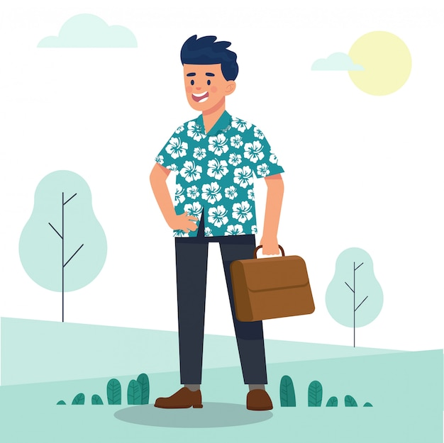 Young man worker character in hawaiian costume
