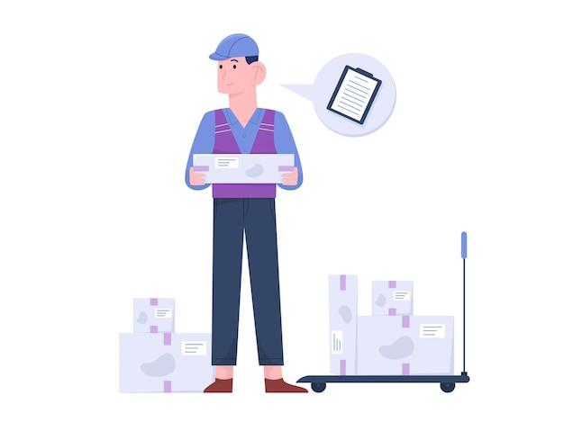 Молодой человек, работающий на складе с ящиками