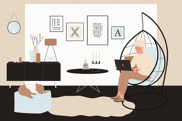 집 그림에서 일하는 젊은 남자