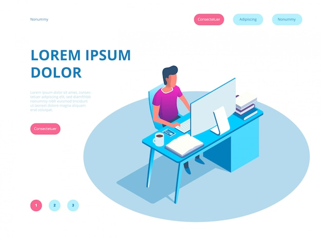 Young man working on the computer programmer, business analysis, design, strategy. isometric vector landing page