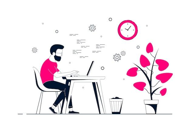 Молодой человек, работающий на ноутбуке за столом в офисе. плоский стиль линии искусства иллюстрации