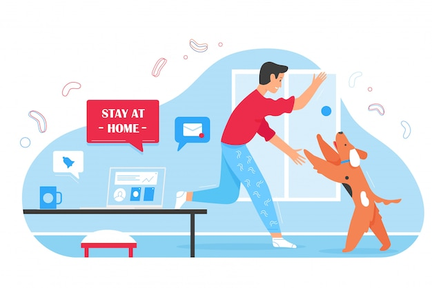 Young man working online and playing with cute dog friend at home during corona virus covid19 time. stay at home prevent coronavirus disease, time together, quarantine self isolation  concept