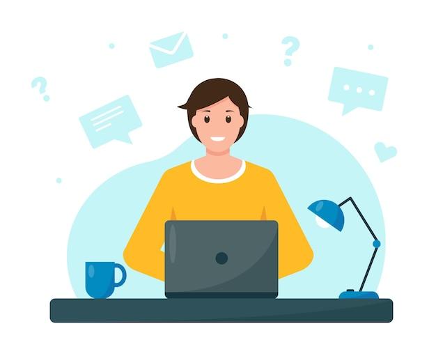ホームオフィスのフリーランスまたはオンライン教育の概念から働いているまたは勉強している若い男