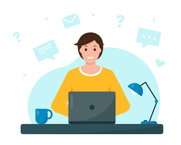 Young man working or studying from home home office freelance or online education concept