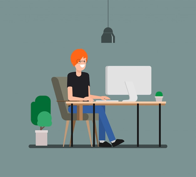 Young man working with computer in freelancer.