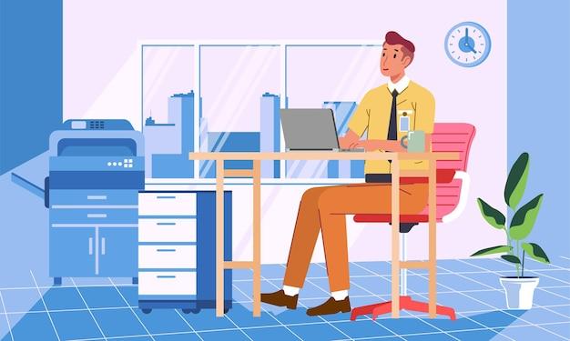 Молодой человек, работающий с ноутбуком в офисе с офисным интерьером и оборудованием