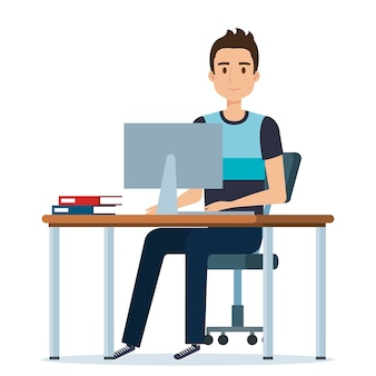 Young man in the workplace avatar character