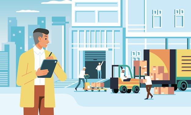 직원의 상품 배송을 확인하는 배달 회사의 젊은 관리자.