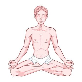 Young meditating yogi man in lotus pose isolated on white background.