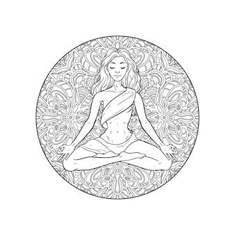 Молодая женщина медитации йоги в позе лотоса на фоне мандалы. иллюстрация