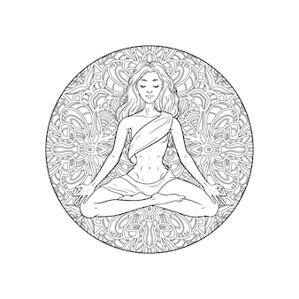 Young meditating yogi woman in lotus pose on mandala background. illustration