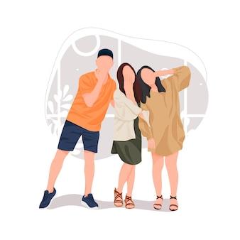 Молодые мужчины и женщины, делающие селфи-палку по мобильному телефону, групповое фотоизображение