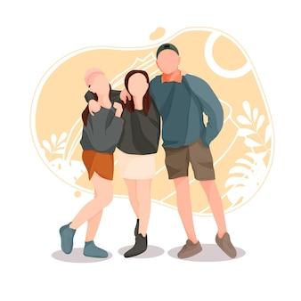 Молодые мужчины и женщины, делающие селфи-палку, групповое фото-изображение человек, фотографирующий обниматься с друзьями