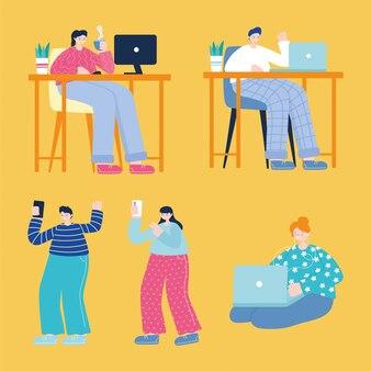 スマートフォンコンピューターのラップトップテクノロジーデバイスを使用している若い男性と女性