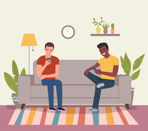 若い男性はスマートフォンでソファに座っています。ベクトルフラット漫画スタイルのイラスト
