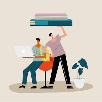 Пара молодых людей поднимает книги и использует иллюстрацию персонажей ноутбука