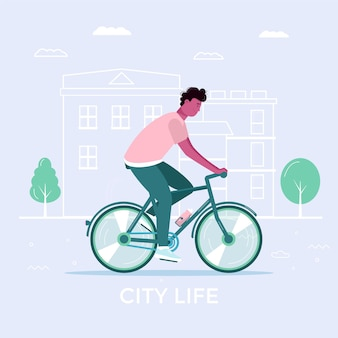 Young men and drive bicycle, eco city transportation in public park. personal electric transport, green bike. ecological vehicle, city life concept