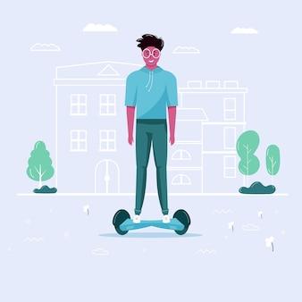 Молодые люди водят скутер, экологический городской транспорт в общественном парке. персональный электротранспорт, зеленый электросамокат. экологический автомобиль, концепция городской жизни