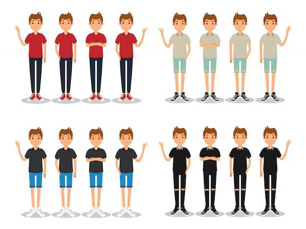 Молодые люди моды современный плоский аватар.