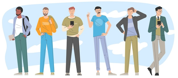 Young men flat design trendy character vector collection.