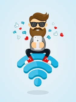 Young men guy character sitting on wi-fi emblem and using smartphone for internet. free internet, hotspot, network . flat    illustration.sending a message via chat from smartphone