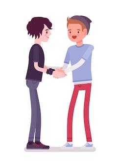 Молодые люди рукопожатие обеими руками