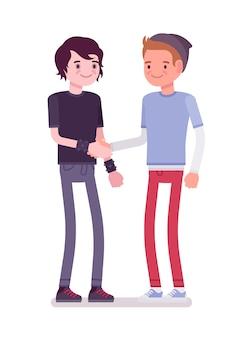 Young men handshaking