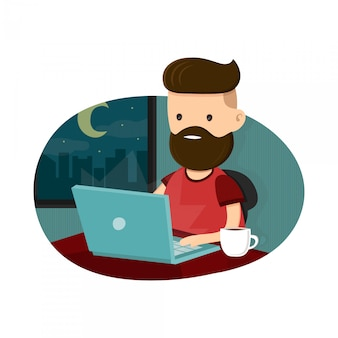 Young men hipster character sitting at a laptop and  working overtime late night. freelance work. flat  illustration. isolated on white