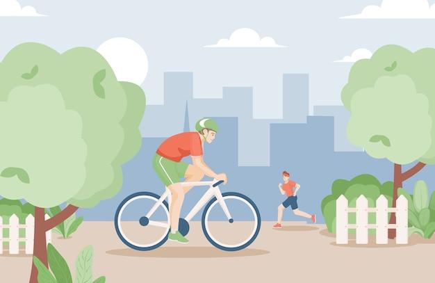 스포츠 옷을 입은 젊은이들이 자전거를 타다.