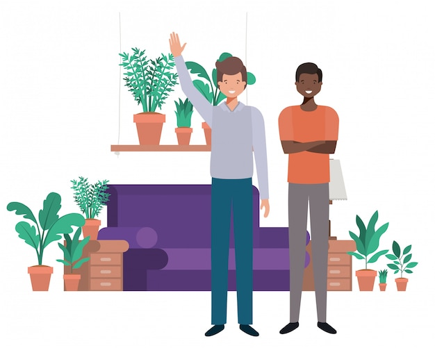 Young men in living room avatar character